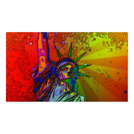 Psychedelic NYC Rainbow Color Statue of Liberty 1R Business Card Templates