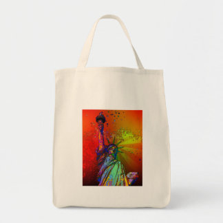 Psychedelic NYC Rainbow Color Statue of Liberty 1R Grocery Tote Bag