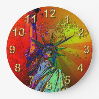 Psychedelic NYC Rainbow Color Statue of Liberty 1R Large Clock