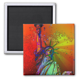 Psychedelic NYC Rainbow Color Statue of Liberty 1R Fridge Magnets