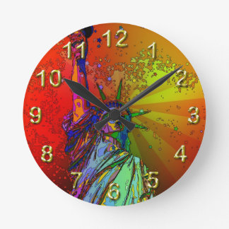 Psychedelic NYC Rainbow Color Statue of Liberty 1R Round Clock