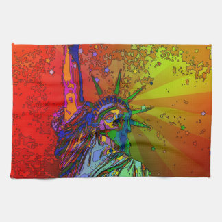 Psychedelic NYC Rainbow Color Statue of Liberty 1R Tea Towel