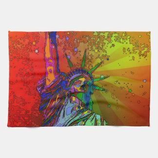 Psychedelic NYC Rainbow Color Statue of Liberty 1R Tea Towel