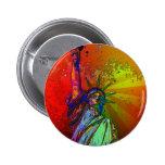 Psychedelic NYC Rainbow Colour Statue of Liberty 6 Cm Round Badge
