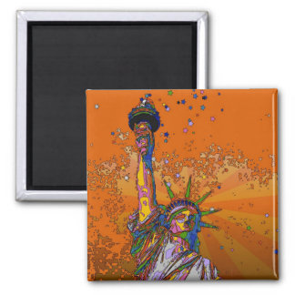 Psychedelic NYC: Statue of Liberty 001 Square Magnet