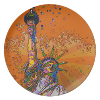 Psychedelic NYC: Statue of Liberty 001 Dinner Plate