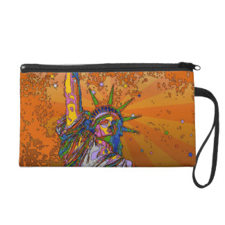 Psychedelic NYC: Statue of Liberty 001 Wristlet Clutches