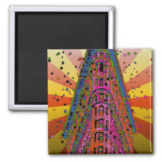 Psychedelic NYC - Top of the Flatiron Building A2 Square Magnet