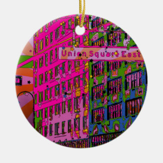 Psychedelic NYC: Union Square Building, St Sign A3 Christmas Ornament