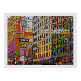 Psychedelic NYC: Union Square Building, St Sign A4 Poster