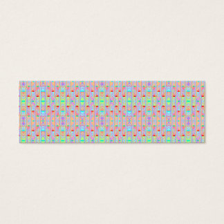 Psychedelic Orange Cool Abstract Triangle Pattern Mini Business Card