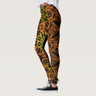 Psychedelic Orange Floral Leaves Leggings
