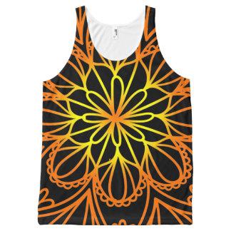 Psychedelic orange floral leaves tank