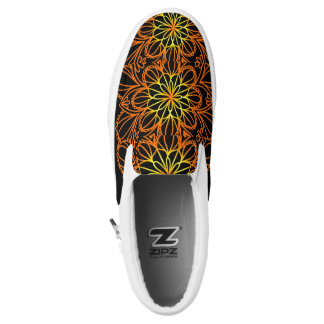 Psychedelic Orange Floral Leaves ZIPZ Printed Shoes