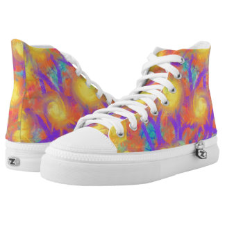 Psychedelic Orange Flowers Abstract Art Design High Tops