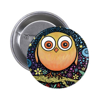 Psychedelic Owl 6 Cm Round Badge