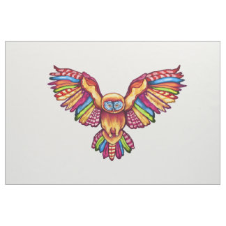 Psychedelic Owl in Flight Fabric