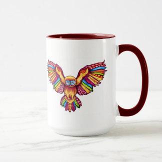 Psychedelic owl in flight with maroon 15 oz Mug