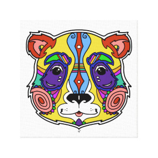 Psychedelic Panda artwork colorful design Canvas Print