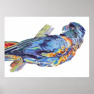 Psychedelic Parrot Australian Cockatoo Poster