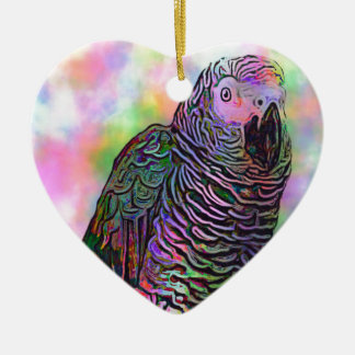Psychedelic Parrot Ceramic Heart Decoration