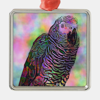 Psychedelic Parrot Christmas Ornament