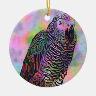 Psychedelic Parrot Round Ceramic Decoration