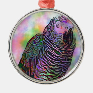 Psychedelic Parrot Silver-Colored Round Decoration