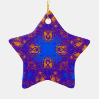 Psychedelic pattern ceramic star decoration