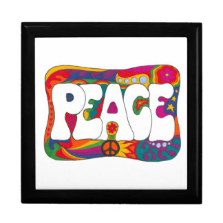 Psychedelic Peace and Love Large Square Gift Box