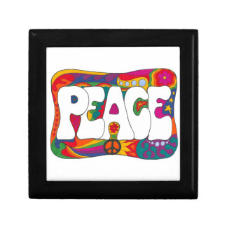 Psychedelic Peace and Love Small Square Gift Box