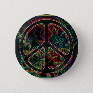 psychedelic peace sign 6 cm round badge