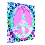 Psychedelic Peace Sign Abstract Art Stretched Canvas Prints