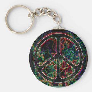 psychedelic peace sign basic round button key ring