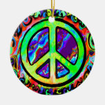 Psychedelic Peace Sign Christmas Christmas Ornaments