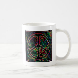 psychedelic peace sign coffee mug