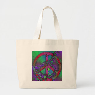 psychedelic peace sign large tote bag