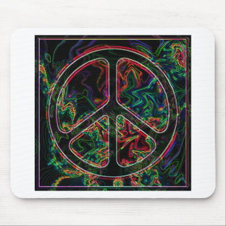 psychedelic peace sign mouse mat