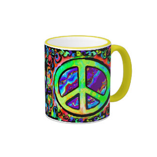 Psychedelic Peace Sign Mugs