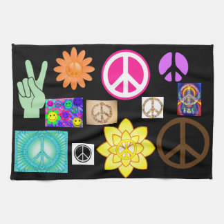 Psychedelic Peace Sign Tea Towel