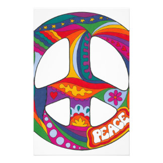 Psychedelic Peace Symbol Customized Stationery