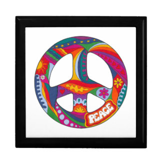 Psychedelic Peace Symbol Large Square Gift Box