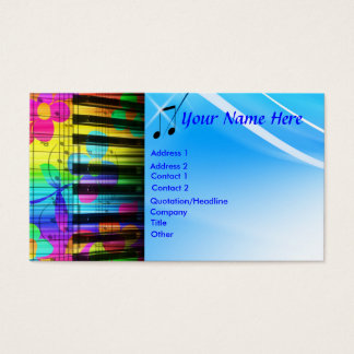 Psychedelic Piano Keyboard and Flowers Business Card