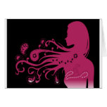 psychedelic pink abstract girl greeting cards