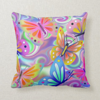 Psychedelic Pink Butterflies Cushion
