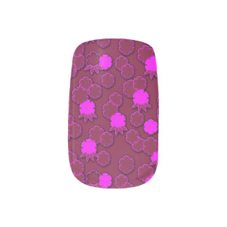 Psychedelic pink floral japanese textile design minx nail art
