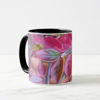 Psychedelic pink leaves on a mug