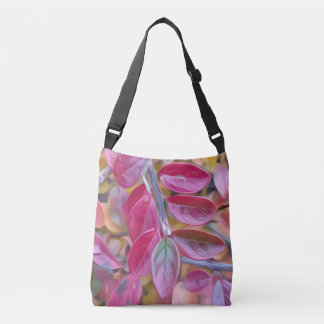 Psychedelic pink leaves tote bag
