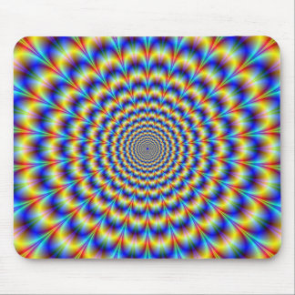 Psychedelic Pulse in Blue and Yellow  Mousepad