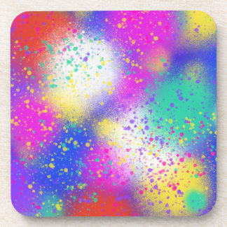 Psychedelic Purple Blue Pink Abstract Art Design Coaster